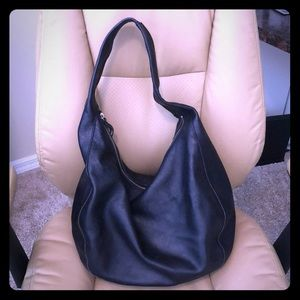 Black leather Banana Republic slouchy hobo purse